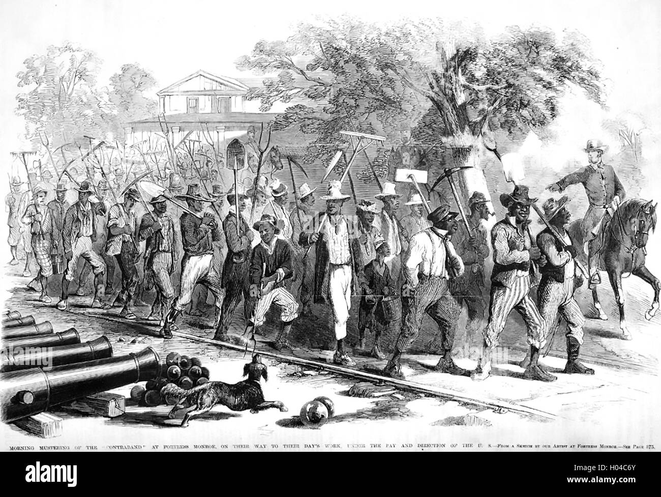 'MORNING MUSTERING OF THE CONTRABANDS' at Fort Monroe, Hampton, Virginia  from Frank Leslie's Illustrated, - Stock Image
