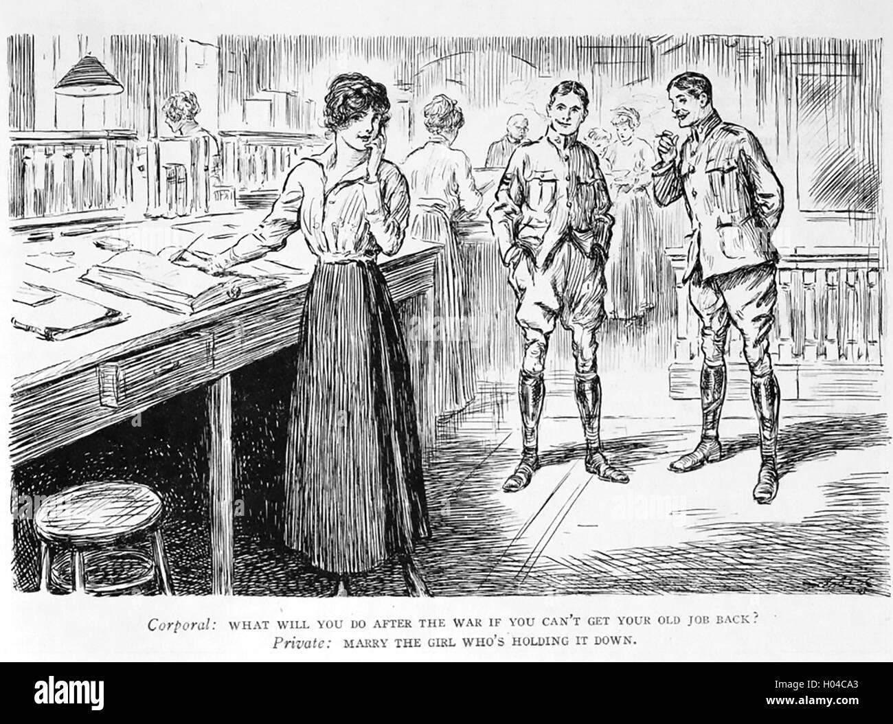 FIRST WORLD WAR 1917 American cartoon - Stock Image