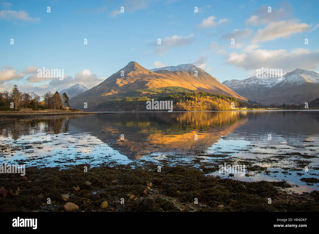 Looking across Loch Leven to the Pap of Glencoe - Stock Image