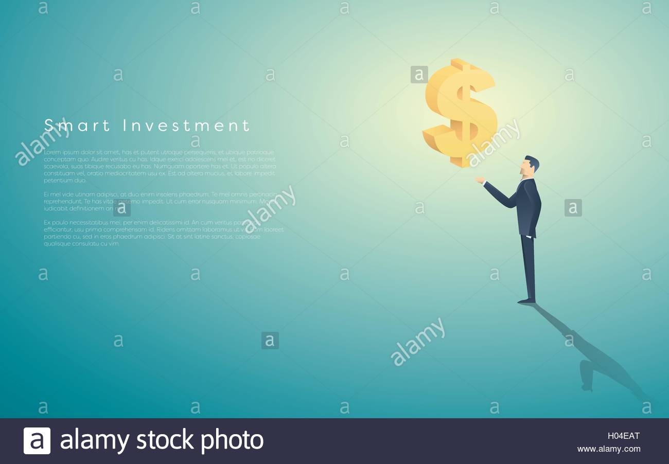 Smart investment business concept vector background with dollar sign as symbol of money and businessman. Bank  banking - Stock Vector
