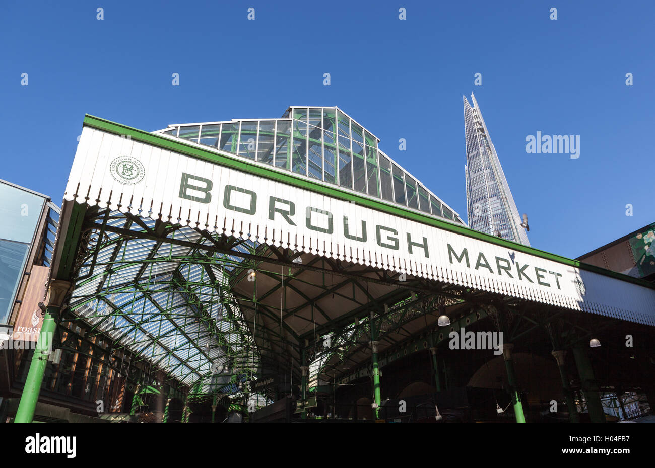 Entrance to Borough Market, London. - Stock Image