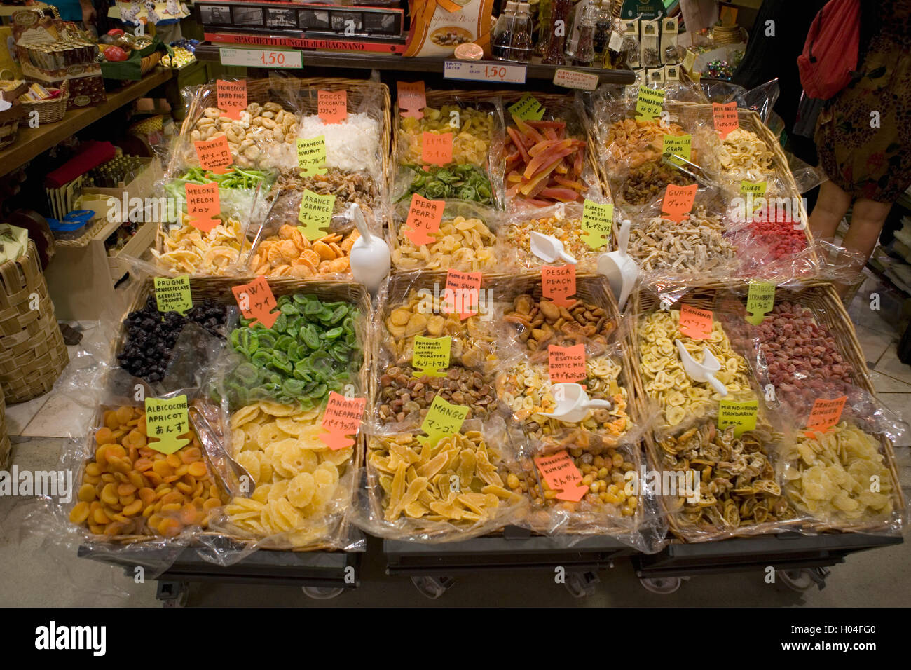 Dried fruit stall in the Mercato Centrale, San Giovanni, Florence, Italy - Stock Image