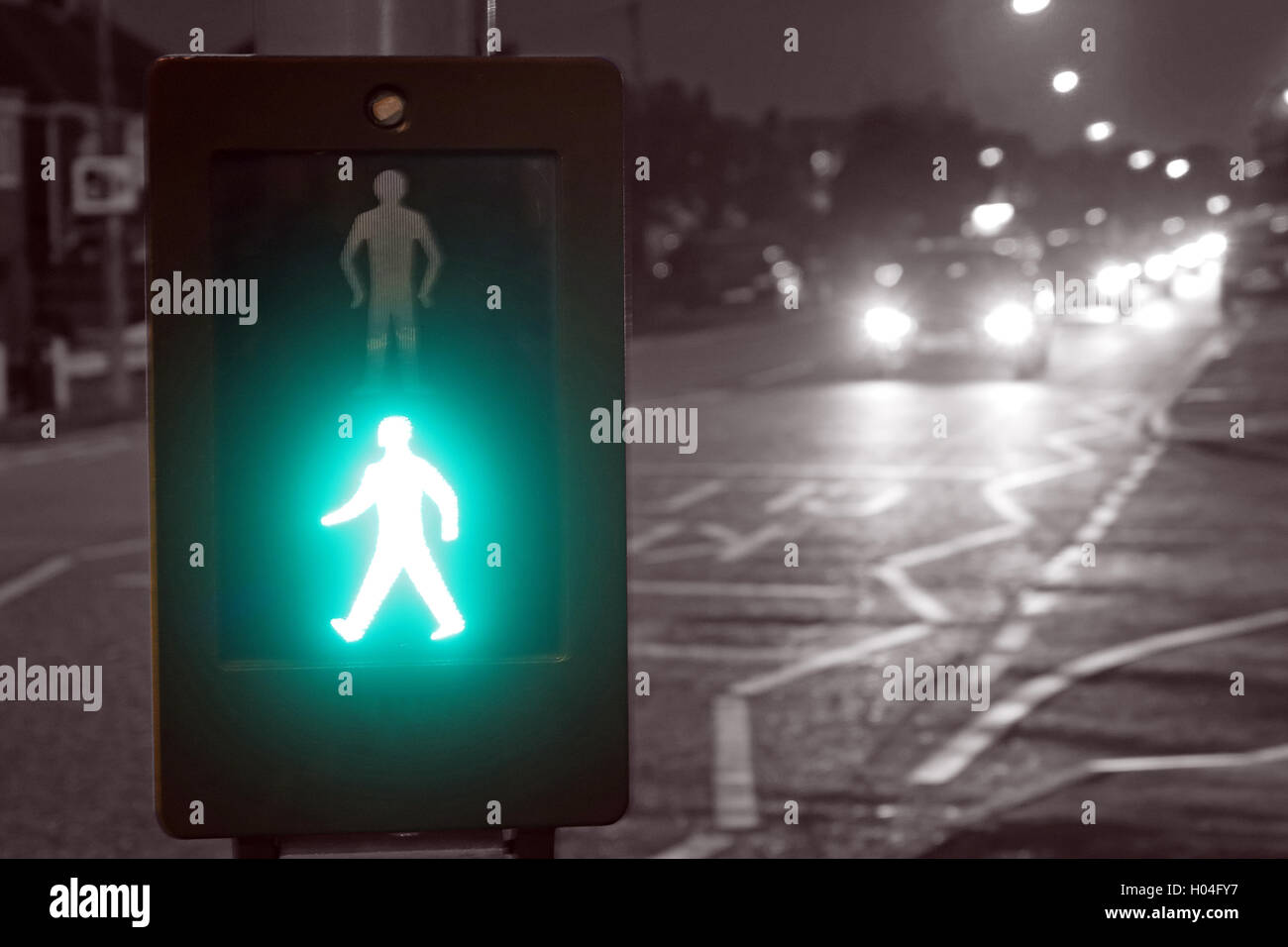 Pelican Crossing with green man, safe to cross, England, UK Stock Photo