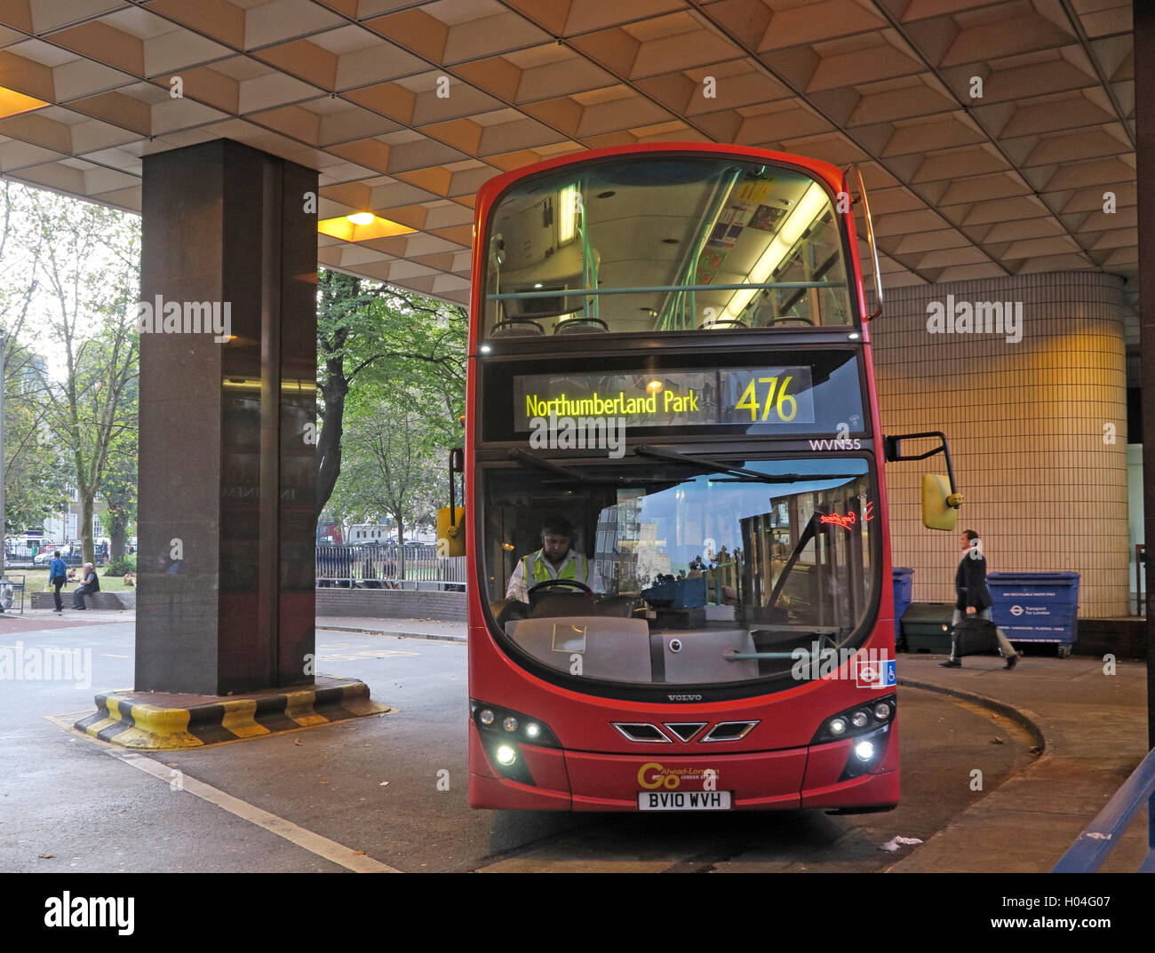 Euston Bus Station to Northumberland Park, Red Double-decker London Bus 476, in Euston bus station - Stock Image