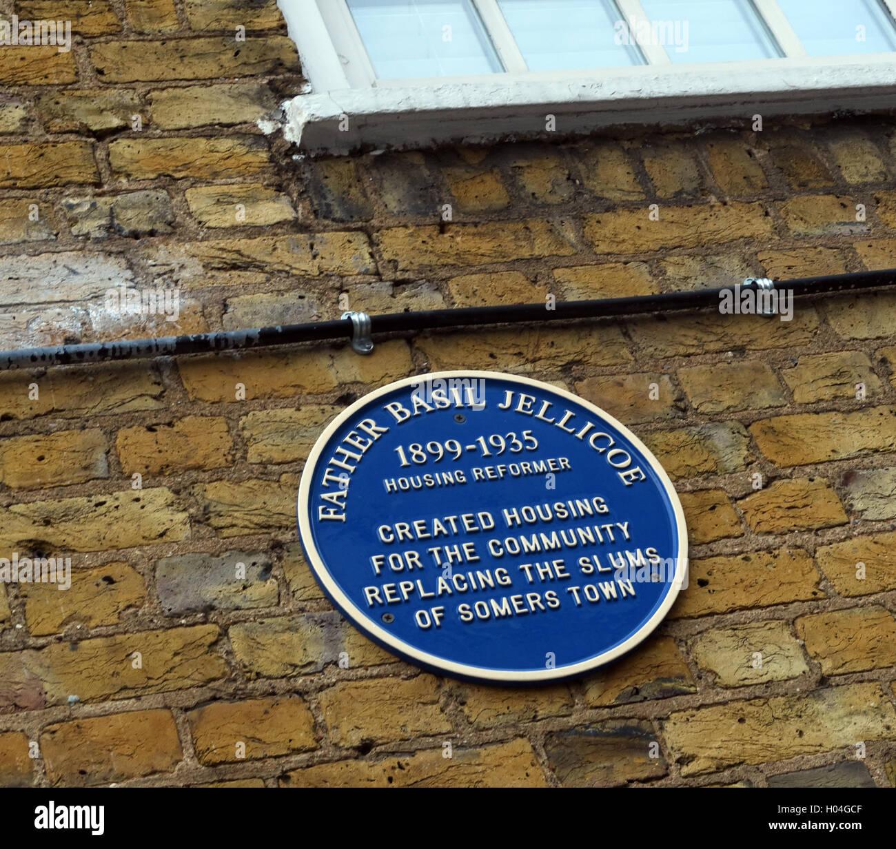 Somers Town,Euston,Father Basil Jellicoe memorial Stock Photo