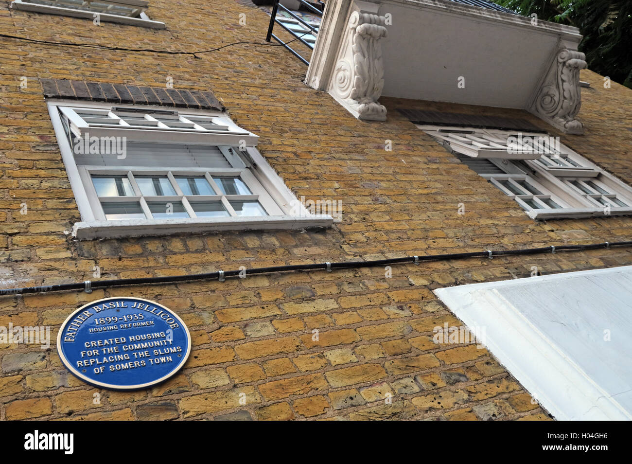 Somers Town,Euston,Father Basil Jellicoe memorial - Stock Image