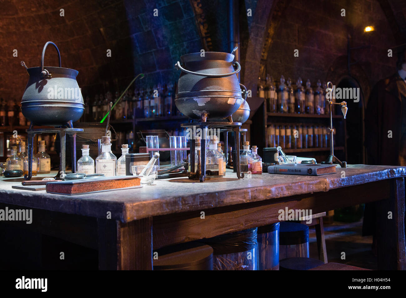 Potion classroom, Warner Brothers Studio Tour, The Making of Harry Potter, London - Stock Image