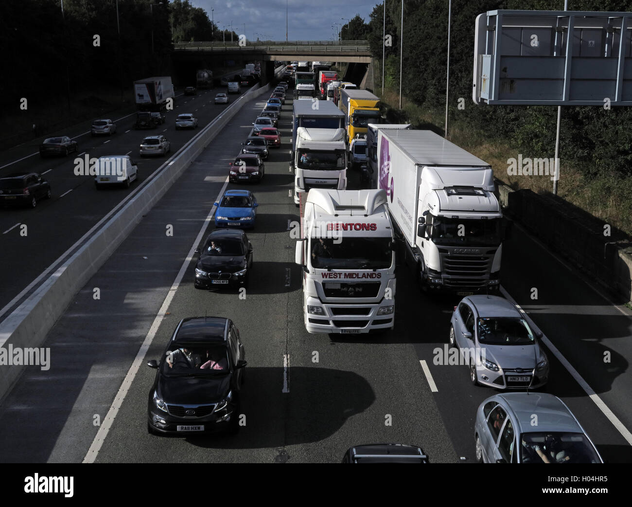 Traffic Congestion,Jams on the M6 Motorway,Warrington,Cheshire,England,UK - Stock Image