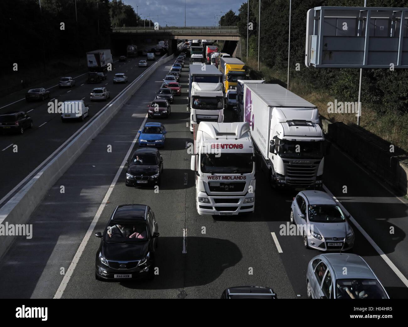Traffic Congestion,Jams on the M6 Motorway,Warrington,Cheshire,England,UK - Stock Image