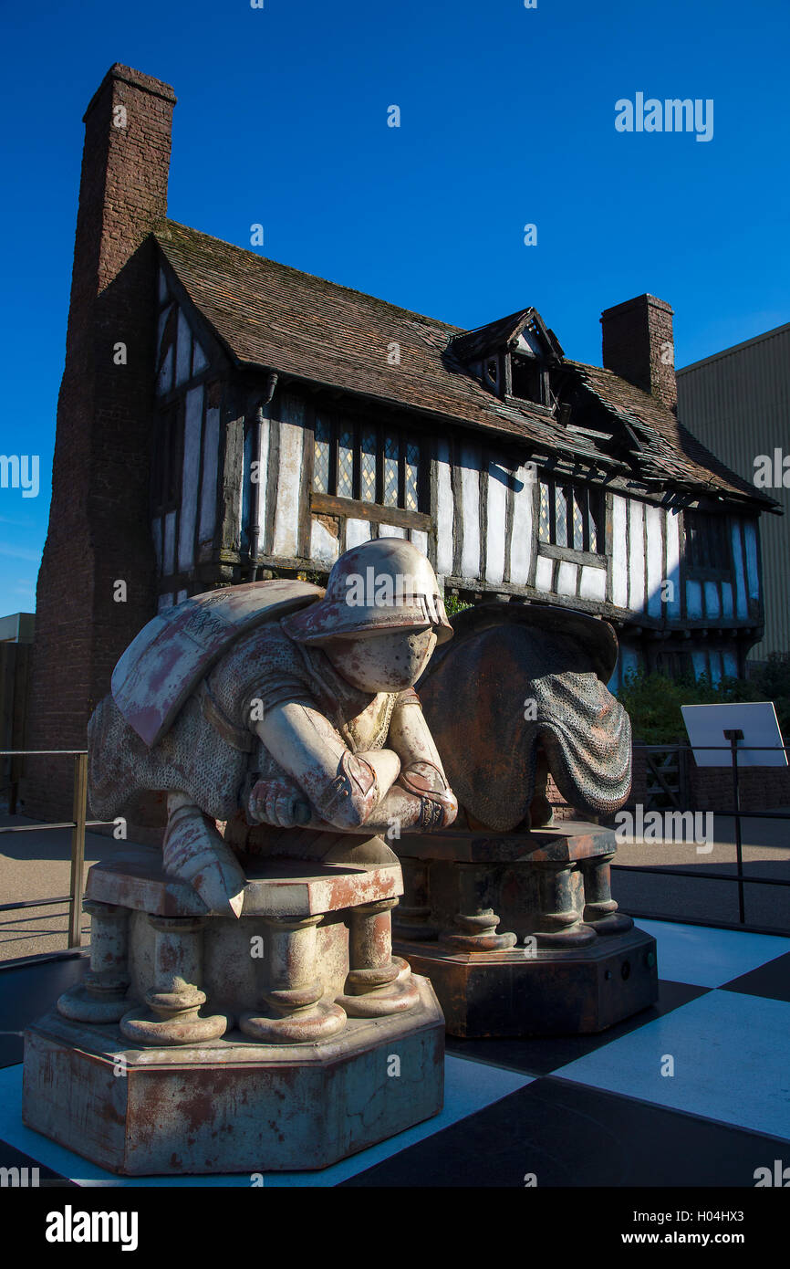 Chess pieces in front of Potters' Cottage, Godric's Hollow, Warner Brothers Studio Tour, The Making of Harry - Stock Image
