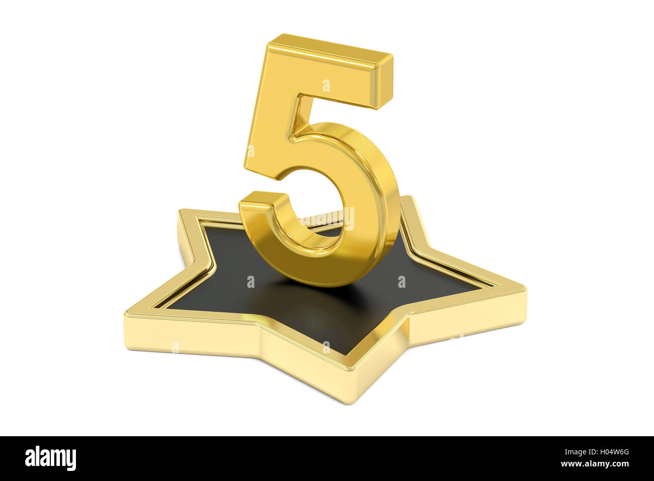 3D golden number 5 on star podium, 3D rendering isolated on white background - Stock Image