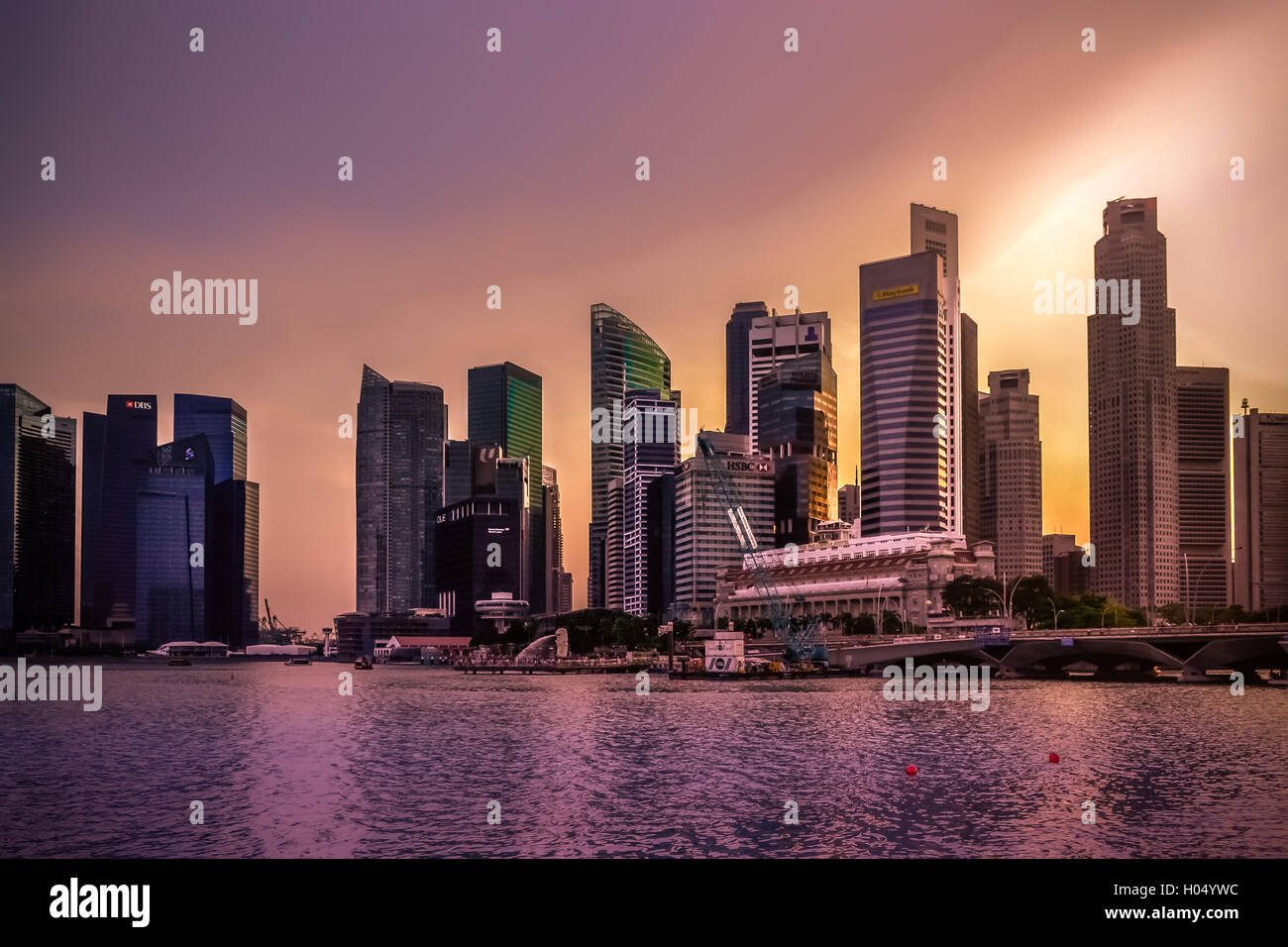 Singapore, city, night, lights, travel, destination, romantic, reflection, reflections - Stock Image