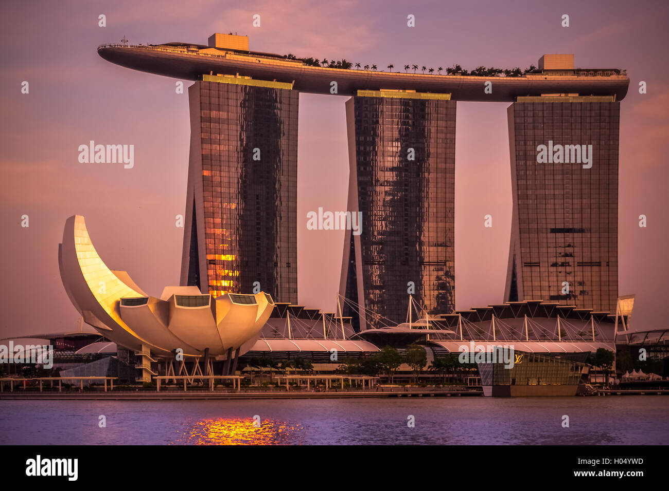 Singapore, Marina Bay sands, sunset, city, asia, travel, hotel, pool on the roof, golden shadow - Stock Image