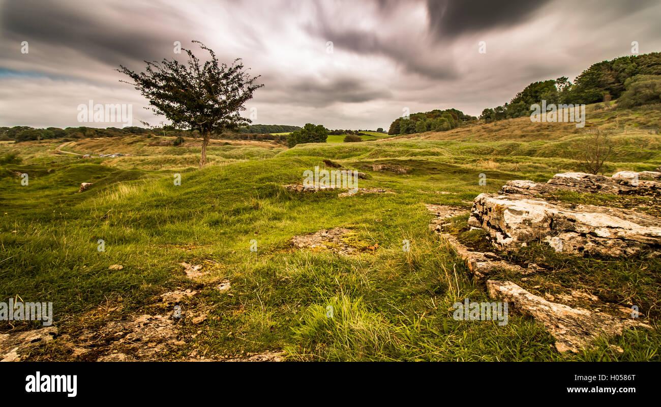 Velvet bottom old mining area Charterhouse Cheddar - Stock Image