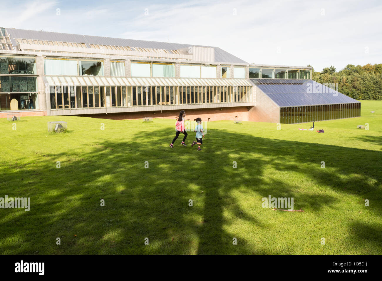 The Burrell Collection exterior in the grounds of Pollok Park, Glasgow, Scotland - Stock Image