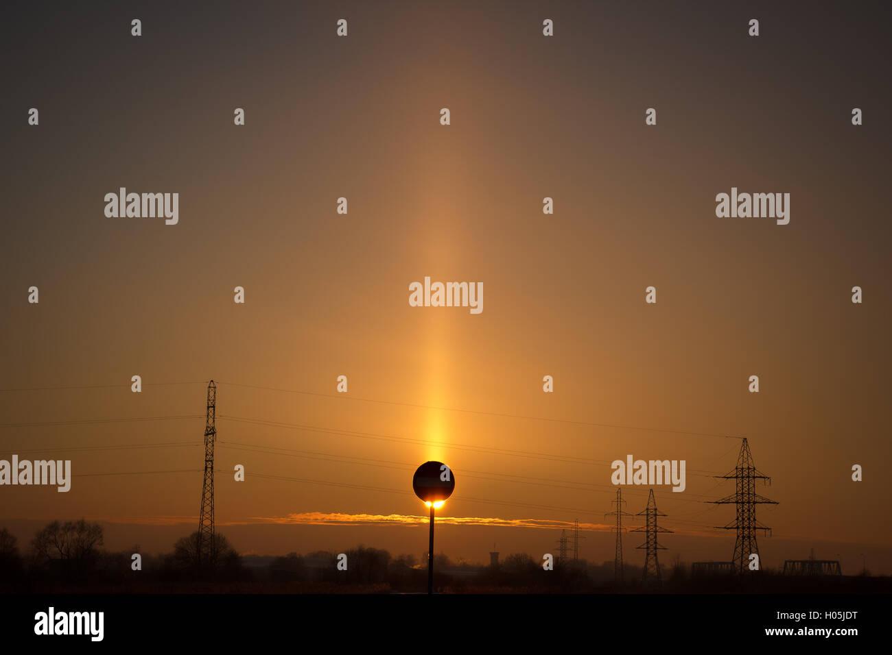 Evening solar eclipse - Stock Image