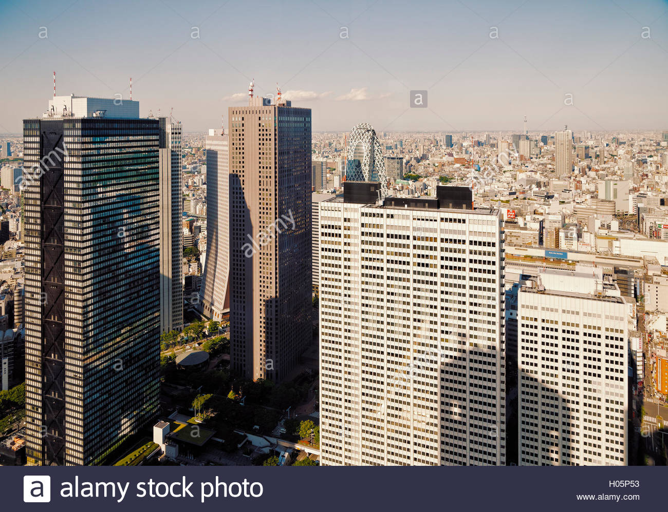 view of Shinjuku tall buildings in Nishi-Shinjuku from observation deck of the Tokyo Metropolitan Government Building - Stock Image