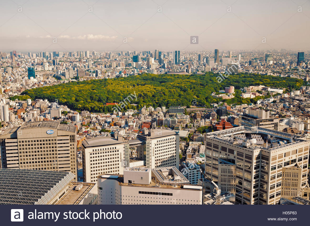 view over Shinjuku toward Yoyogi park and tall buildings from observation deck of the Tokyo Metropolitan Government - Stock Image