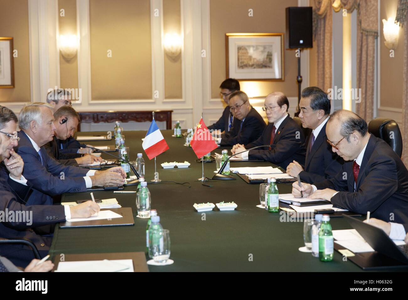 New York, USA. 19th Sep, 2016. Chinese Foreign Minister Wang Yi(2nd R) meets with his French counterpart Jean-Marc Stock Photo
