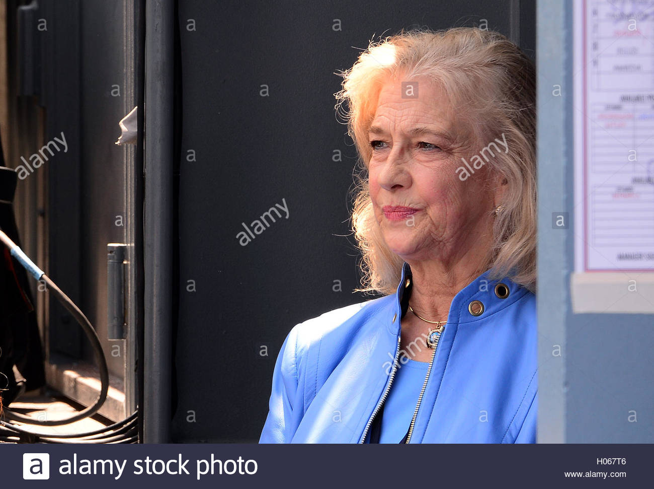 Los Angeles, California, USA. 12th Apr, 2016. Sandra Scully looks on with teary eyes as Hall of Fame Dodgers announcer - Stock Image