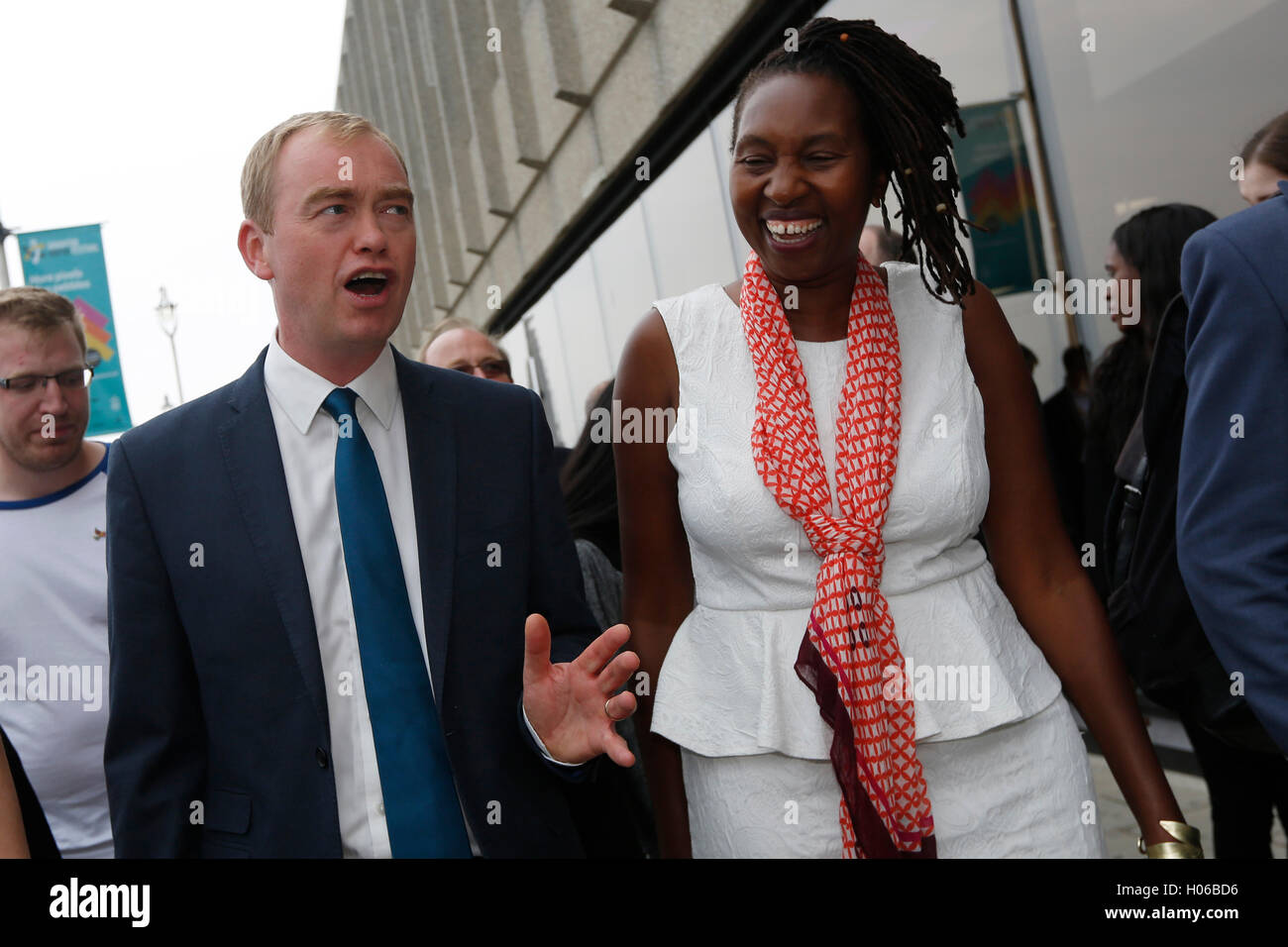 Brighton, UK. 20th Sep, 2016. Tim Farron, Party Leader arrives with party members to give his keynote speech during - Stock Image