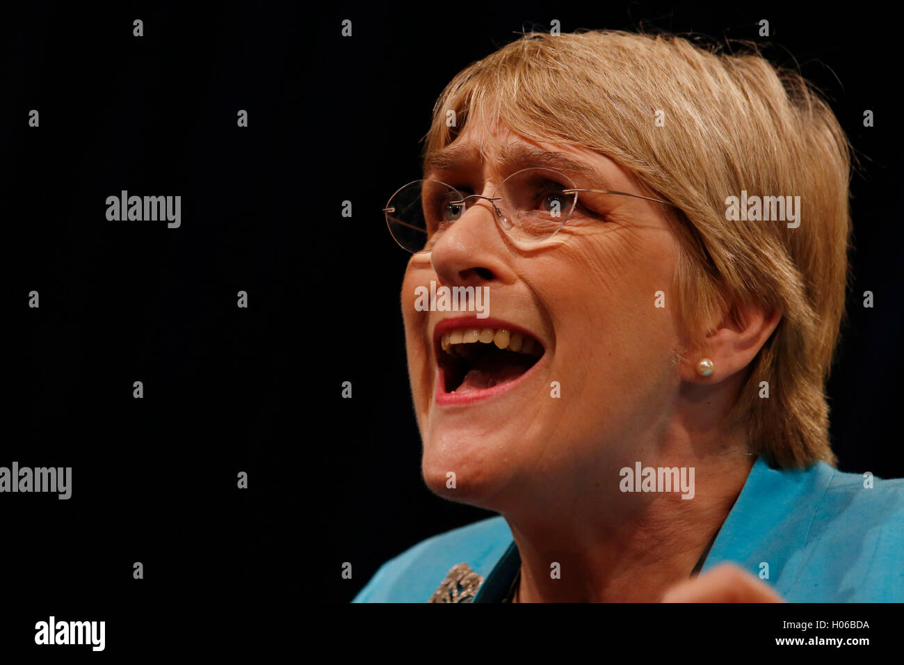 Brighton, UK. 20th Sep, 2016. Party president, Sarah Brinton, Baroness Brinton, known as Sal Brinton speaks during - Stock Image
