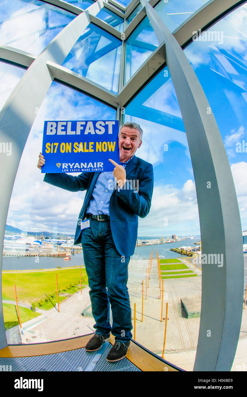 Belfast, Northern Ireland. 20 Sep 2016 - Michael O'Leary, CEO of Ryanair, criticises the Northern Ireland Assembly, Stock Photo