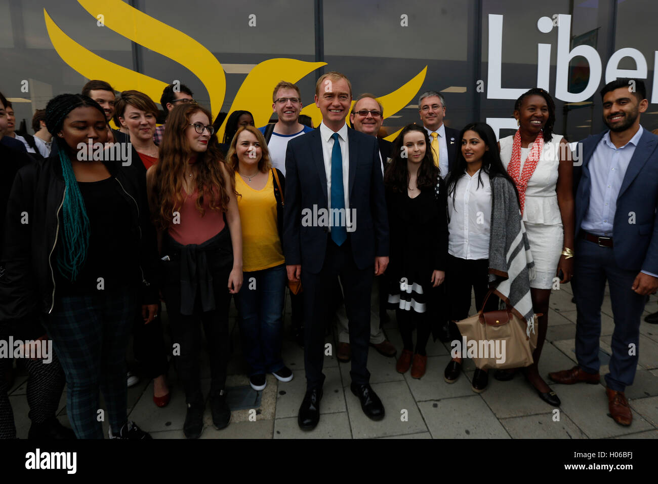 Brighton, UK 20th Sep, 2016 Tim Farron, Party Leader arrives with party members to give his keynote speech during - Stock Image