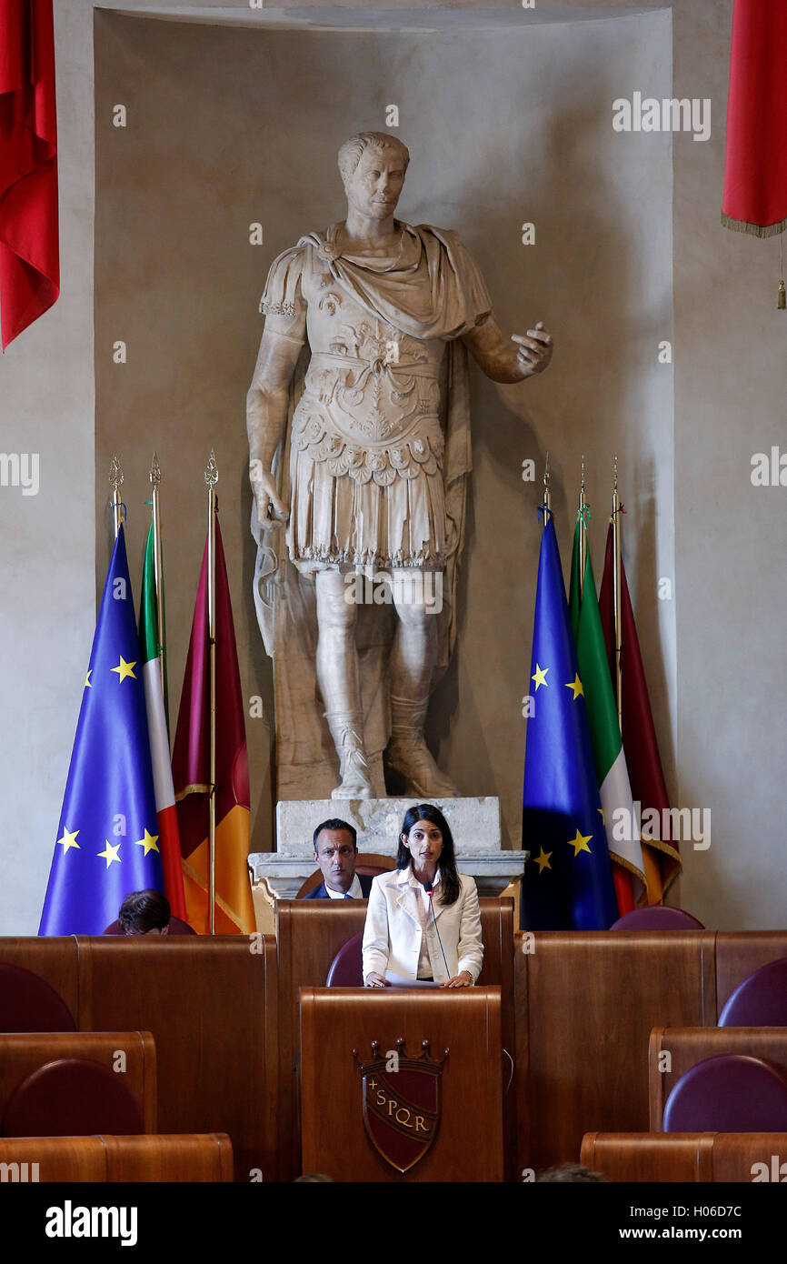 Rome, Italy. 20th Sep, 2016. Virginia Raggi Rome 20th September 2016. Town Council Photo Samantha Zucchi Insidefoto - Stock Image