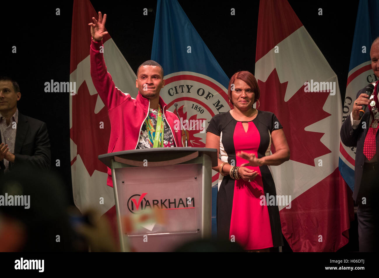 Andre De Grasse with mom Canadian Olympic Hero, Athlete medal winner in Home coming event  Markham Pan Am Centre - Stock Image