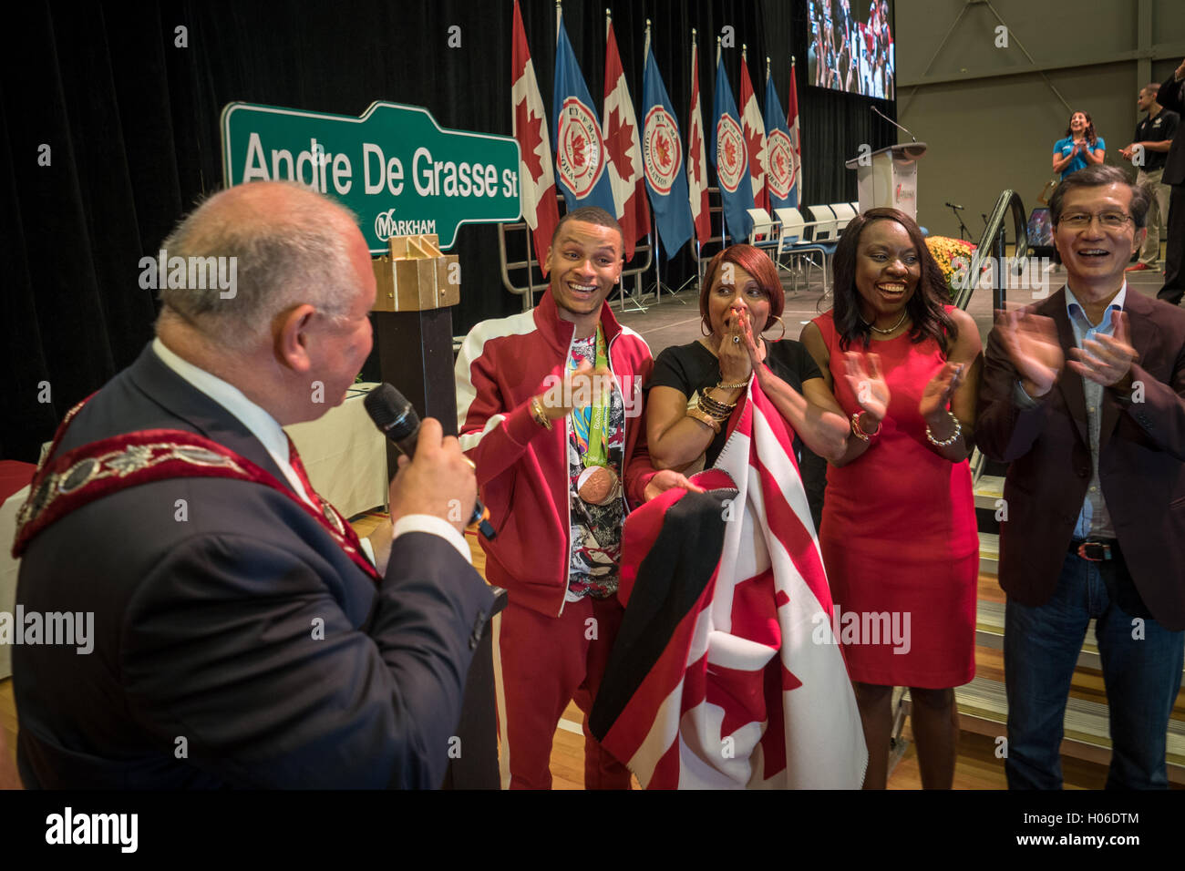 Andre De Grasse Canadian Olympic Hero, Athlete medal winner in Home coming event  Markham Pan Am Centre Ontario - Stock Image