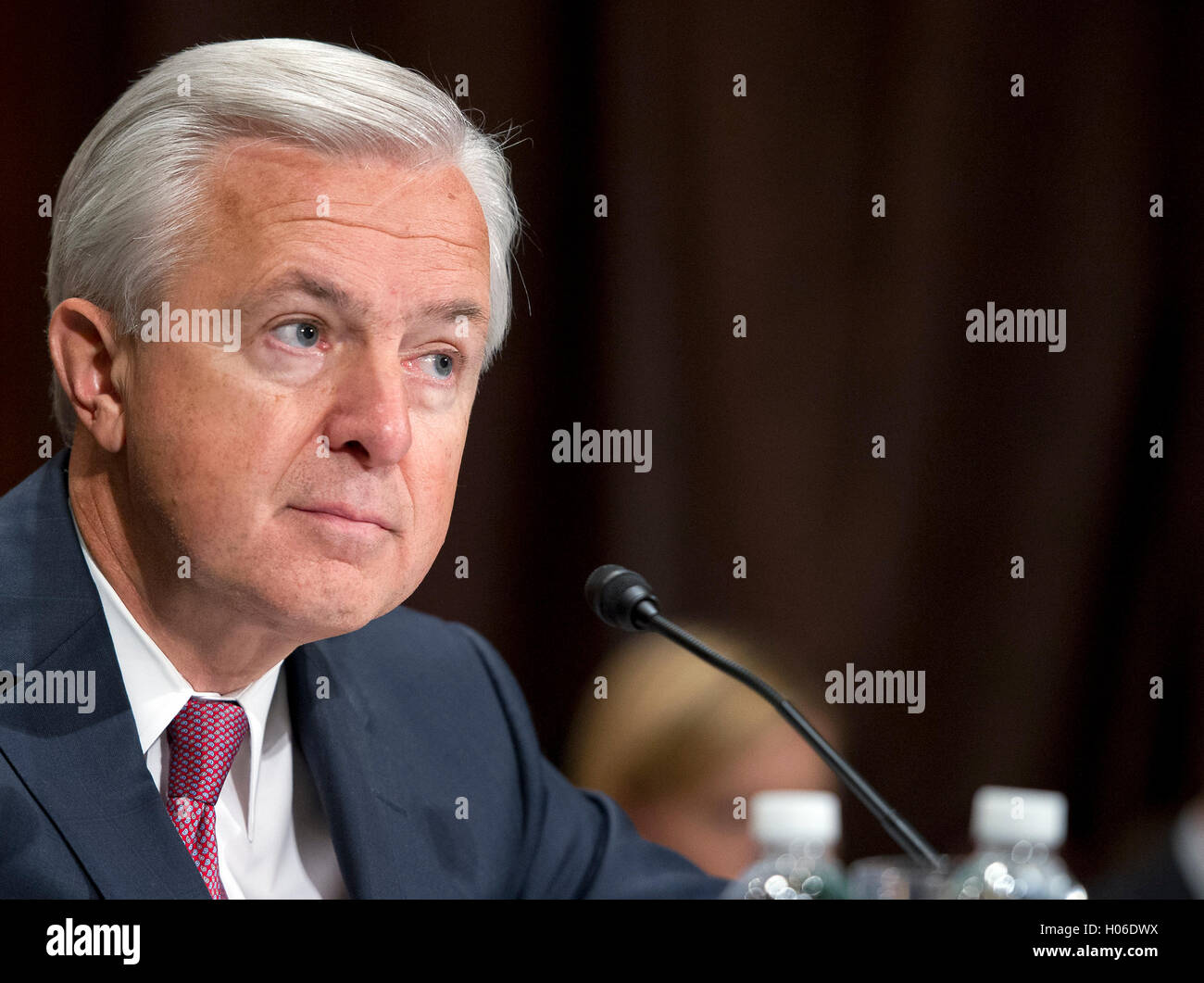 John G. Stumpf, Chairman and CEO, Wells Fargo & Company, testifies before the United States Senate Committee on Stock Photo