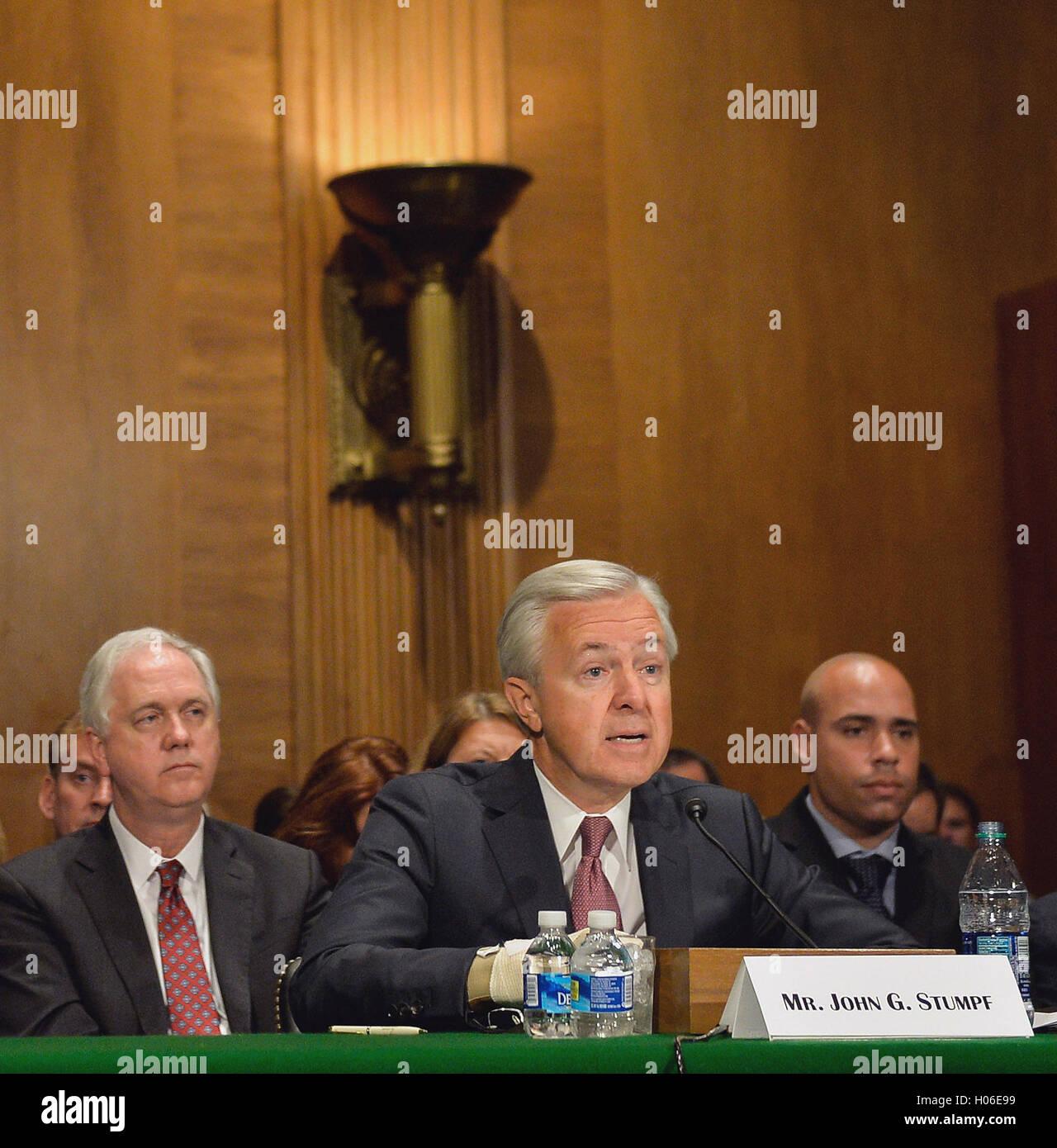 Washington, DC, USA. 20th Sep, 2016. Wells Fargo's chairman and chief executive officer (CEO) John Stumpf testifies Stock Photo