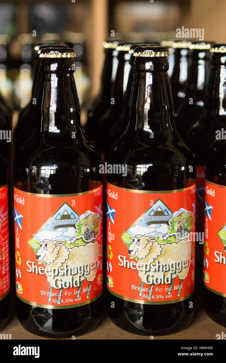 Sheepshagger's Gold - Cairngorm Brewery, a Scottish craft brewery - on sale in the visitor shop at the brewery - Stock Image