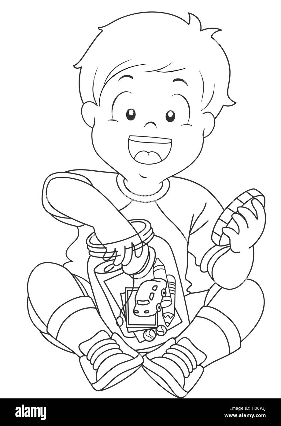 Black and White Illustration of a Boy Storing Trinkets in a Jar - Stock Image