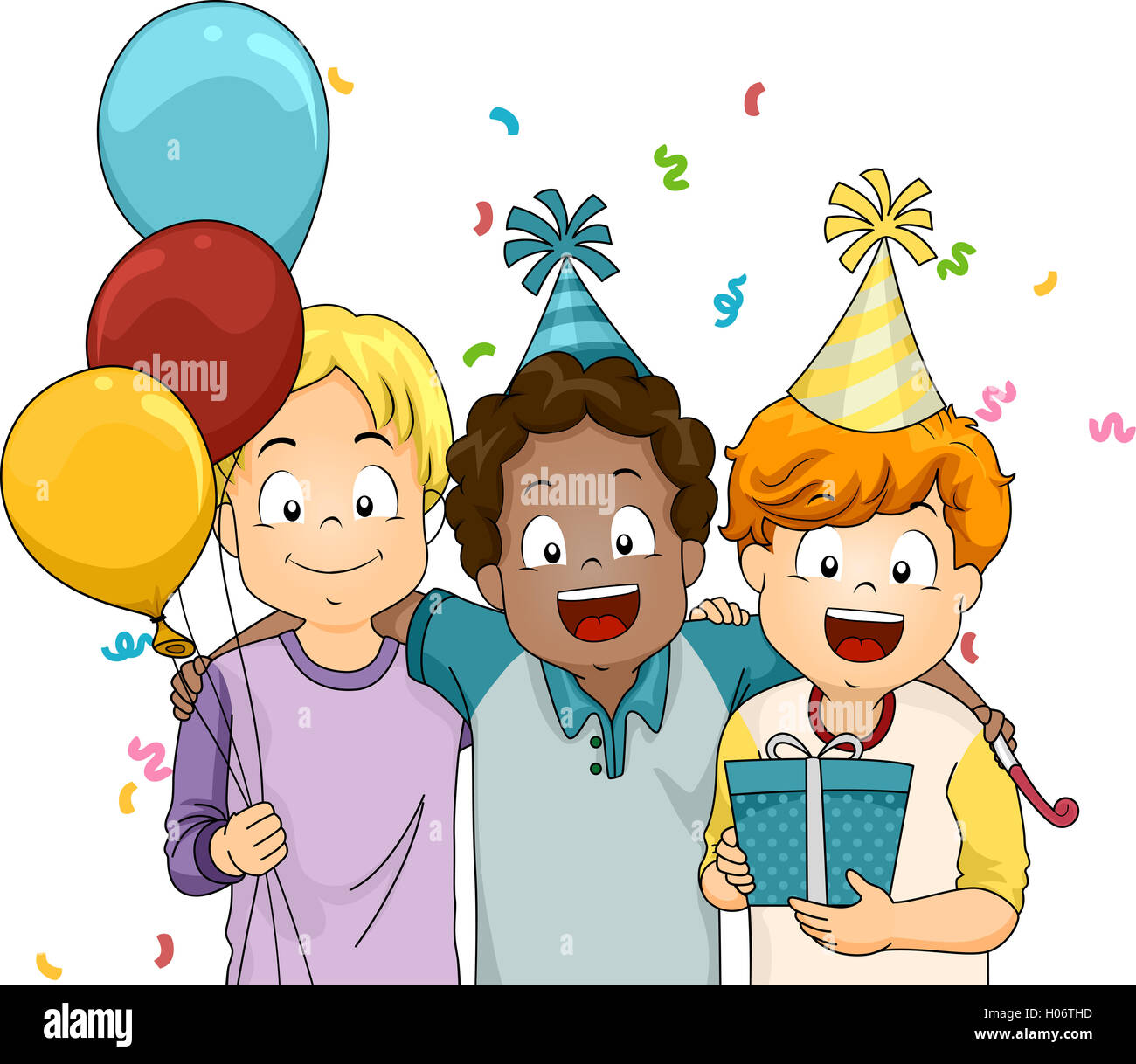 Illustration Of Boys Giving A Friend Surprise Birthday Gift