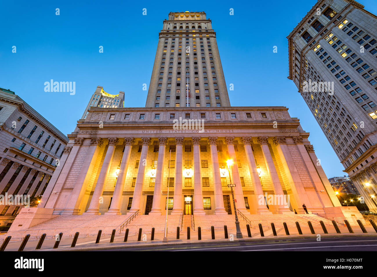 The public building of United States Courthouse located in the Civic Center neighborhood of Lower Manhattan in New - Stock Image