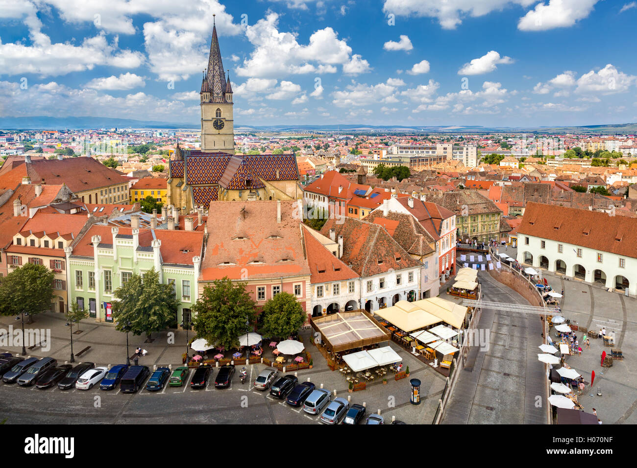 Aerial view of Sibiu old center. - Stock Image