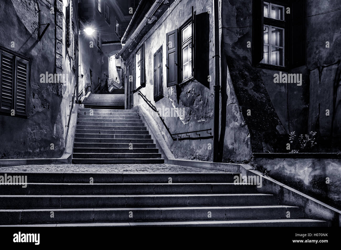 Moody monochrome view of Goldsmiths passage, in Sibiu, Romania, - Stock Image