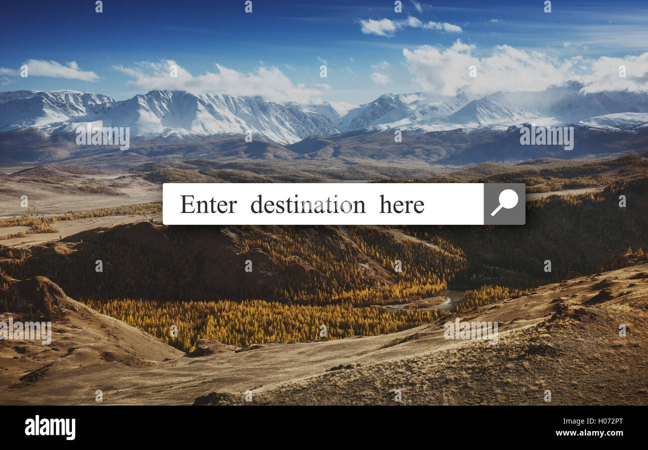 Search explore destination concept with  box and mountains backdrop - Stock Image