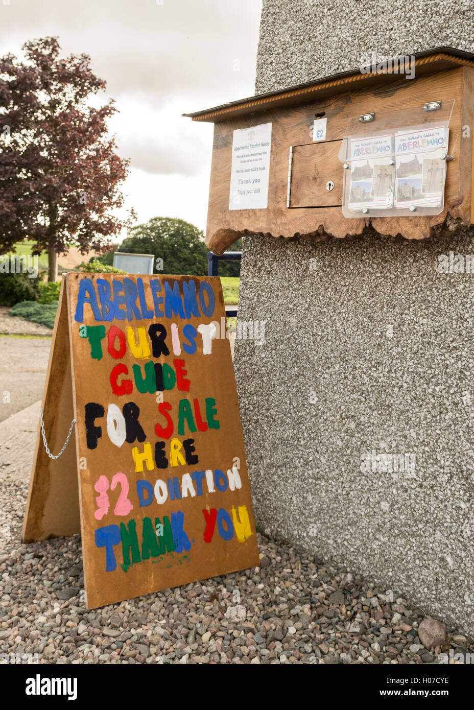 Aberlemno Primary School fundraising initiative - the school produced a tourist guide for visitors to the Aberlemno Stock Photo