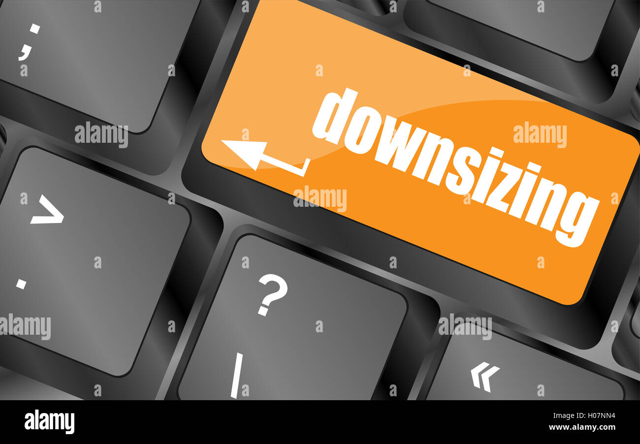 cloud icon with downsizing word on computer keyboard key - Stock Image