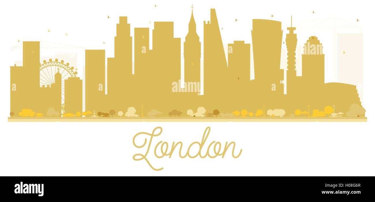 London City Skyline Golden Silhouette Vector Illustration Simple Flat Concept For Tourism Presentation