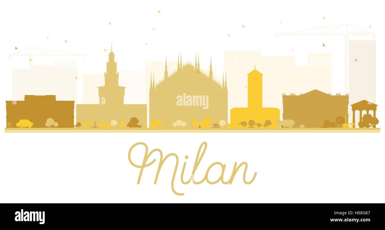 Milan City skyline golden silhouette. Vector illustration. Simple flat concept for tourism presentation, banner, - Stock Vector