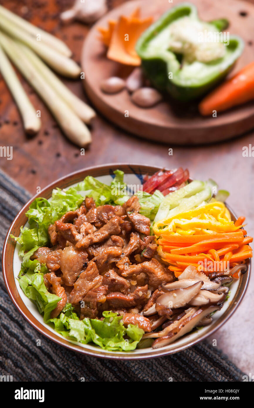 Fried rice mixed with beef - Stock Image
