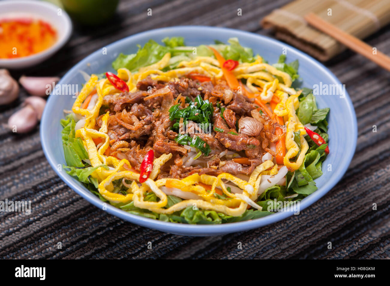 Fried rice mixed with beef Stock Photo