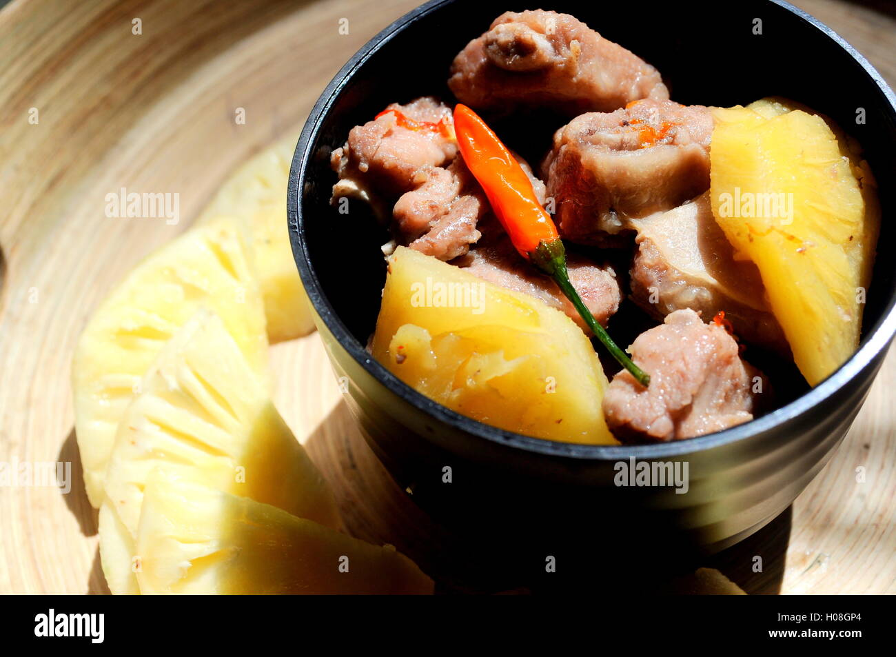 Pork ribs with pineapple - Stock Image