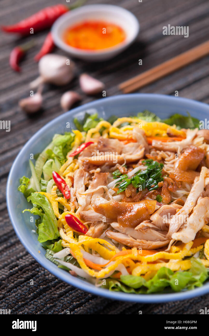 Fried rice mixed with pork - Stock Image