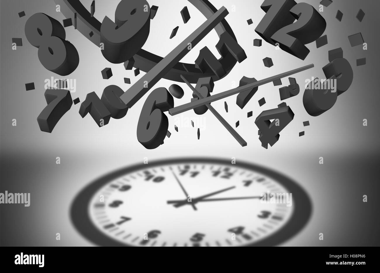 Concept of time management and controlling business planning efficiency as a group of falling clock pieces creating - Stock Image