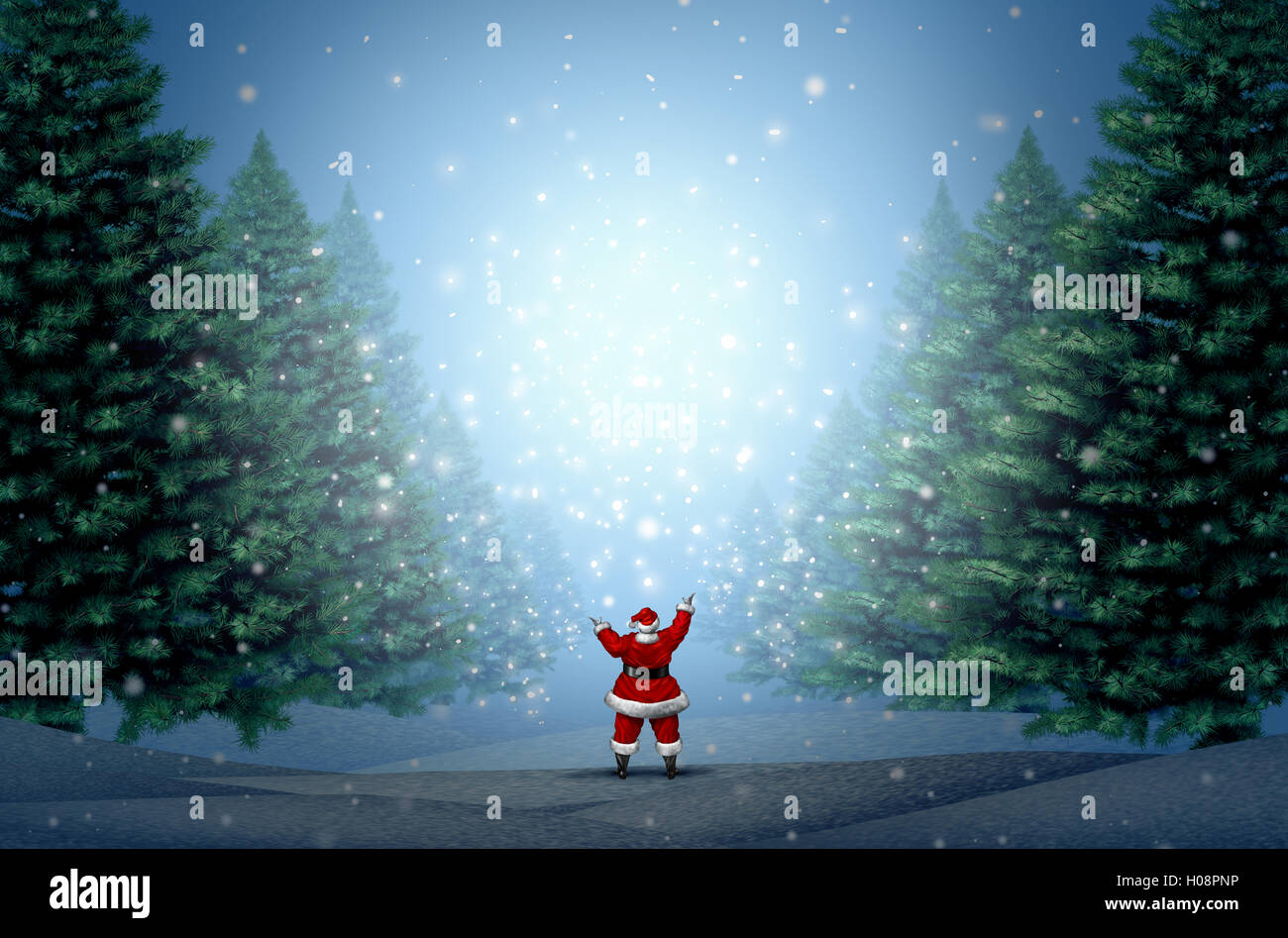 Magical christmas background as santa clause standing in a blue magical christmas background as santa clause standing in a blue winter forest with magic lights and glowing glitter with copy space as a holiday greeting m4hsunfo